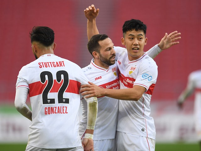 Stuttgart's Gonzalo Castro celebrates with teammates after scoring against Eintracht Frankfurt on November 7, 2020