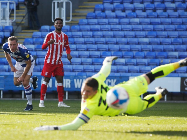 Tyrese Campbell shoots for Stoke City against Reading in the Championship on November 7, 2020