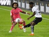 Valencia's Yunus Musah in action with Real Madrid's Marcelo in La Liga on November 8, 2020