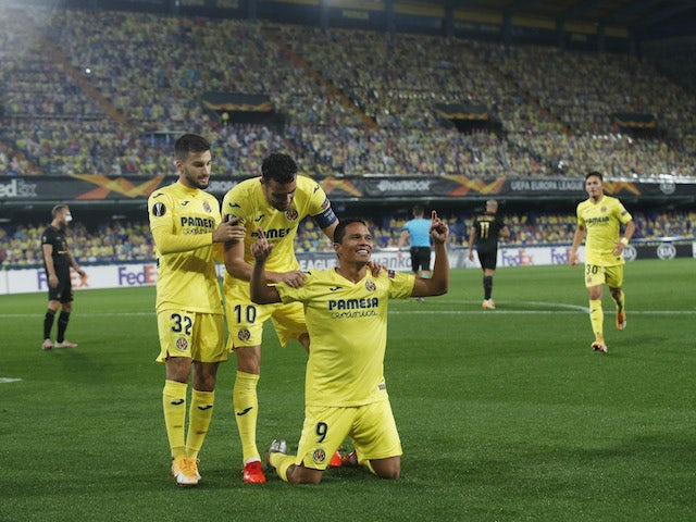 Villarreal's Carlos Bacca celebrates scoring against Maccabi Tel Aviv on November 5, 2020