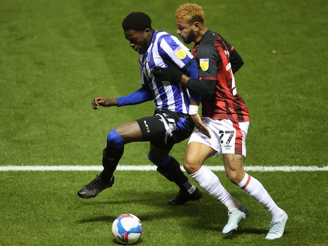 Sheffield Wednesday's Dominic Iorfa battles with Bournemouth's Joshua King on November 3, 2020