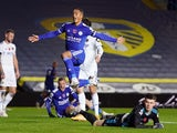 Youri Tielemans celebrates scoring for Leicester City against Leeds United in the Premier League on November 2, 2020