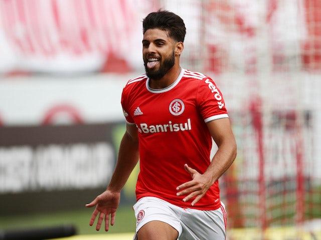 Yuri Alberto of Internacional celebrates scoring against Coritiba on November 8, 2020