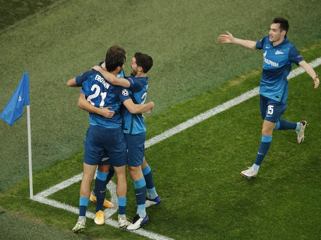 Zenit St Petersburg players celebrate scoring against Lazio on November 4, 2020