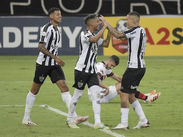 Atletico Mineiro players celebrate scoring against Flamengo in November 2020
