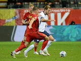 England's Harry Kane in action with Belgium's Toby Alderweireld in the UEFA Nations League on November 15, 2020