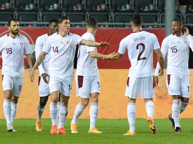 Les joueurs suisses célèbrent leur but contre la Belgique le 11 novembre 2020
