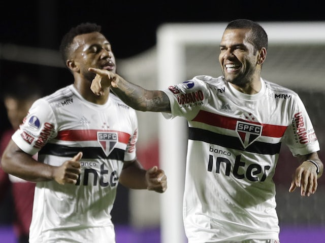 Sao Paulo's Dani Alves celebrates scoring in November 2020