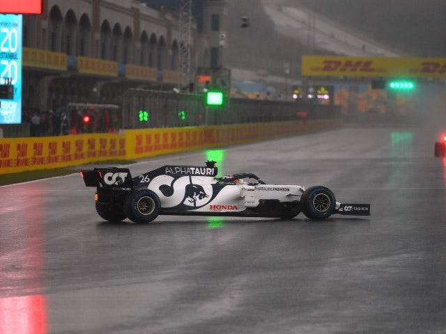 Daniil Kvyat pictured during a rain-soaked qualifying for the Turkish Grand Prix on November 14, 2020