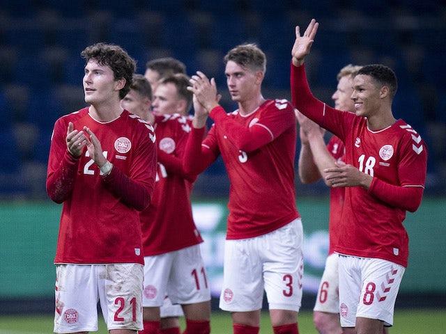 Denmark players celebrate against Sweden on November 11, 2020