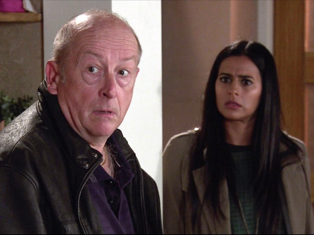 Geoff and Alya on the first episode of Coronation Street on November 27, 2020
