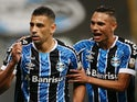 Gremio's Diego Souza celebrates scoring with Luiz Fernando in October 2020