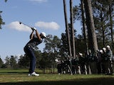 Dustin Johnson in action at the Masters on November 15, 2020