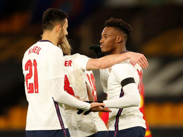 Die englischen U-21-Spieler feiern das Tor von Callum Hudson-Odoi gegen Andorra in der europäischen Qualifikation am 13. November 2020.