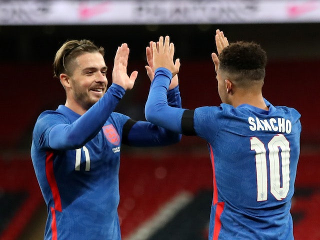 England's Jadon Sancho celebrates scoring against the Republic of Ireland in an international friendly on November 12, 2020