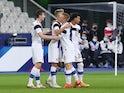 Finland players celebrate Omma Valakari's goal against France on November 11, 2020