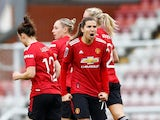 Manchester United's Tobin Heath celebrates scoring against Manchester City in the Women's Super League on November 14, 2020