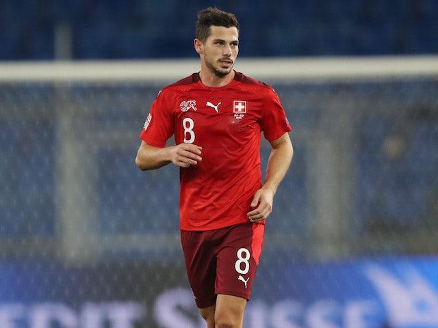 Remo Freuler celebrates scoring for Switzerland on November 14, 2020
