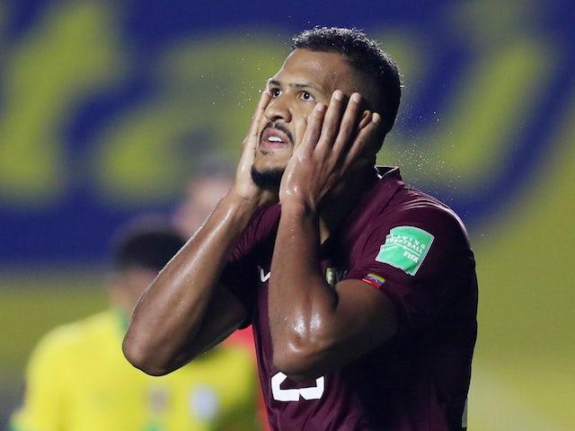 Venezuela's Salomon Rondon reacts against Brazil on November 14, 2020