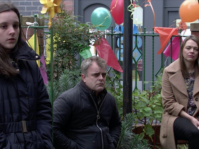 Amy, Steve and Tracy at Oliver's memorial on the second episode of Coronation Street on December 4, 2020