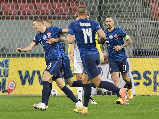 Slovakia's Jan Gregus celebrates scoring against Scotland in the UEFA Nations League on November 15, 2020