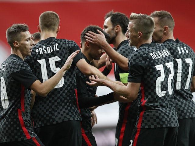 Croatia players celebrate Mario Pasalic's goal against Turkey on November 11, 2020