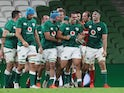 Ireland players celebrate after beating Wales in the Autumn Nations Cup on November 13, 2020