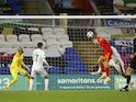 Wales' David Brooks scores against the Republic of Ireland in the UEFA Nations League on November 15, 2020