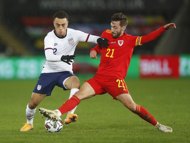 Wales' Josh Sheehan in action with United States' Sergino Dest in an international friendly on November 12, 2020