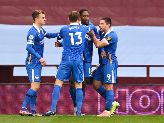 Brighton & Hove Albion's Danny Welbeck celebrates scoring their first goal with teammates against Aston Villa on November 21, 2020