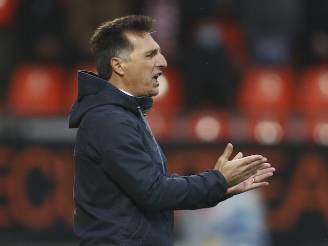 Lorient manager Christophe Pelissier pictured in October 2020