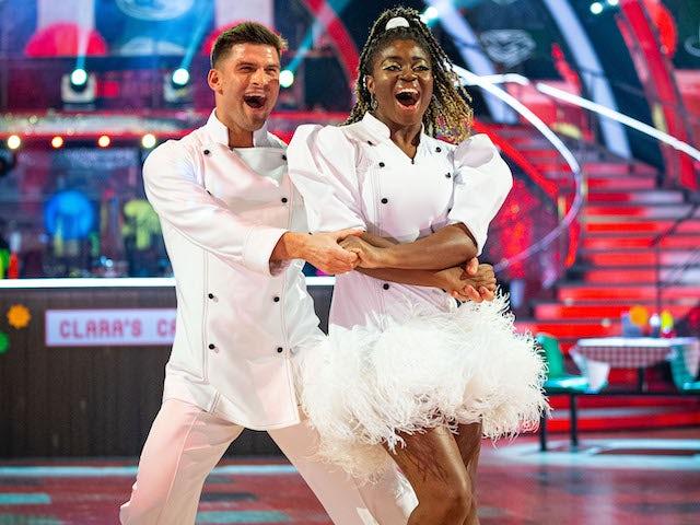 Clara Amfo and Aljaz Skorjanec on Strictly Come Dancing week five on November 21, 2020