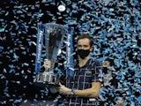 Daniil Medvedev lifts the ATP Finals trophy on November 22, 2020