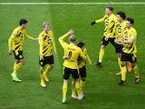 Erling Haaland celebrates after scoring for Borussia Dortmund against Hertha Berlin in the Bundesliga on November 21, 2020