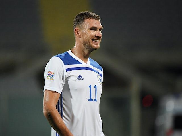 Edin Dzeko in action for Bosnia-Herzegovina on September 4, 2020