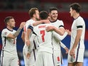 England's Mason Mount celebrates scoring against Iceland in the UEFA Nations League on November 18, 2020