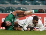 England's Jonny May scores their first try against Ireland in the Autumn Nations Cup on November 21, 2020