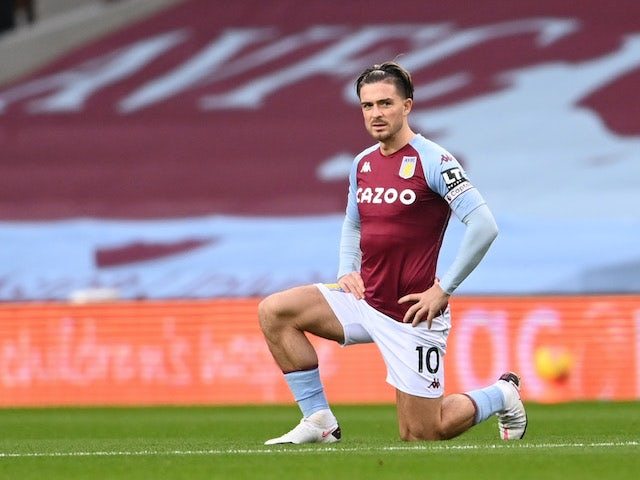 Jack Grealish in action for Aston Villa on November 21, 2020