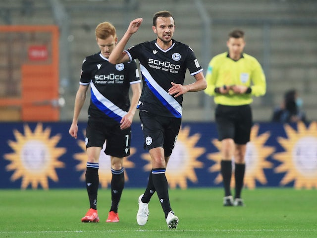 Arminia Bielefeld's Manuel Prietl celebrates their first goal against Bayern Munich in October 2020