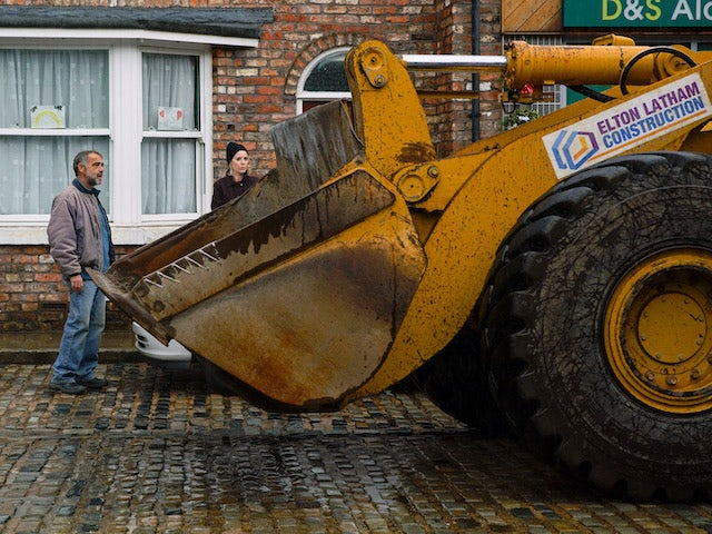 A bulldozer arrives on the street in time for the 60th anniversary on Coronation Street on December 7, 2020