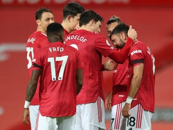 Bruno Fernandes celebrates scoring for Manchester United against West Bromwich Albion in the Premier League on November 21, 2020