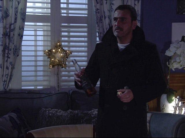 Peter hits the bottle on Coronation Street on December 11, 2020