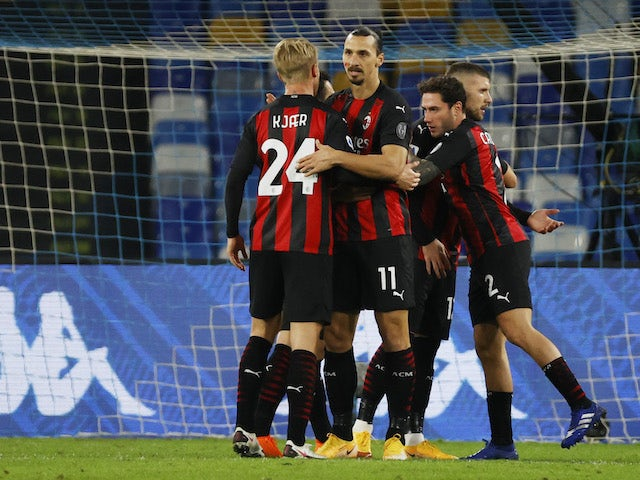 AC Milan's Zlatan Ibrahimovic celebrates scoring against Napoli in Serie A on November 22, 2020