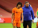 Netherlands defender Nathan Ake limps off after picking up an injury in November 2020