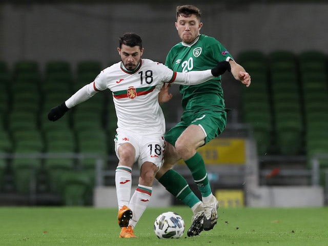 Republic of Ireland's Dara O'Shea in action with Bulgaria's Galin Ivanov in the UEFA Nations League on November 18, 2020