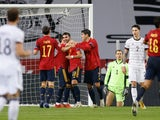 Ferran Torres celebrates scoring for Spain against Germany in the Nations League on November 17, 2020