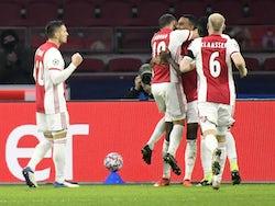 Ajax players celebrate scoring against FC Midtjylland on November 25, 2020