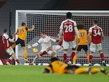 Wolverhampton Wanderers attacker Daniel Podence scores against Arsenal in the Premier League on November 29, 2020