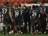Brentford celebrate Ivan Toney's goal against Barnsley in the Championship on November 24, 2020