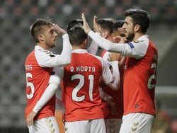 Braga's Paulinho celebrates scoring against Leicester City in the Europa League on November 26, 2020